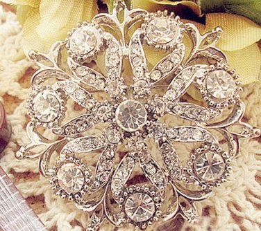 Round Cake Glass Crystal Rhinestone Wedding Bridal Bride Sash Brooch Pin
