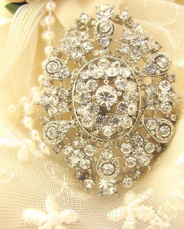Oval Glass Crystal Rhinestone Wedding Bridal Bride Sash Brooch Pin