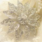 Flower Glass Crystal Rhinestone Wedding Bridal Bride Sash Brooch Pin
