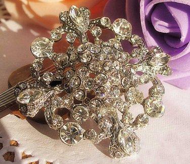 Cross Glass Crystal Rhinestone Wedding Bridal Bride Sash Brooch Pin