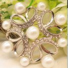 Rhombus Pearl Rhinestone Crystal Silver Bridal Wedding Brooch Pin