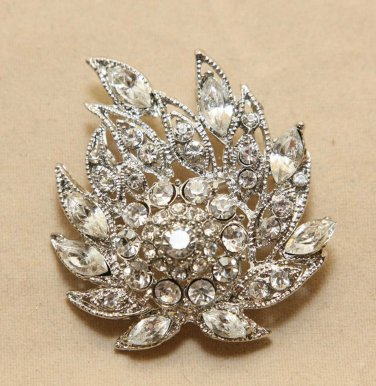 Vintage Style Bridal Clear Whtie Rhinestone Brooch Pin