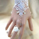 fingerless Bridal wedding off white lace Slave Ring Chain Bracelet/Gloves
