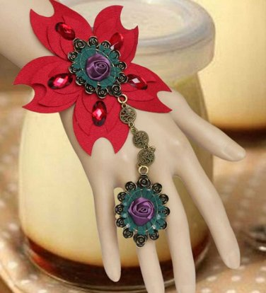 Large Red Flower Purple Rose Gothic Slave Bracelet with Ring Party