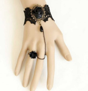 BLACK Embrodiery Lace Black Rose Gothic Goth Victorian Ring Slave Bracelet