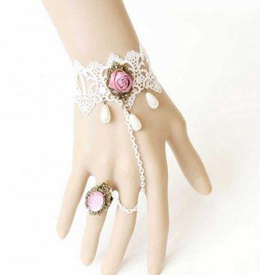 White Vintage Lace Victorian Goth Cocktail Party Bridal Bracelet
