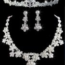Floral Wedding crystal Rhinestone Tiara Headband Necklace Earrings Jewellery Set