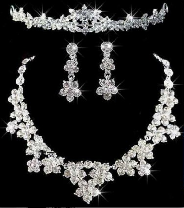 Floral Wedding crystal Rhinestone Tiara Headband Necklace Earrings Jewellery Set