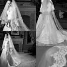 3m Tulle Netting White / Ivory Catherdal Prom Wedding Bride Veil Pearl Lace Edge