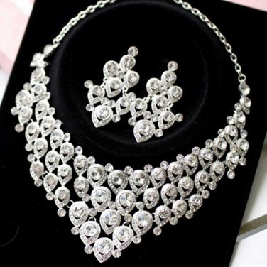 Wedding Bridal Rhinestone Crystal Peacock Clip Necklace Earrings Jewellery Set