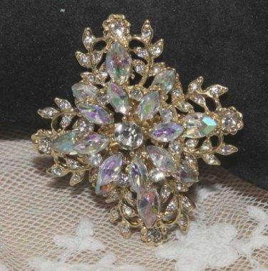 Vintage Style Crystal Rhinestone Wedding Bridal Bride Cross GoldBrooch Pin