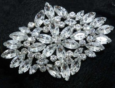 Vintage Style Glass Crystal Rhinestone Wedding Bridal Bride rhombus Brooch Pin