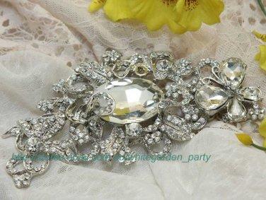Swarovski Crystal Rhinestone Bridal Flower Wedding Hair Dress Silver Brooch Pin