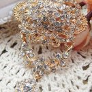 Crystal Rhinestone Wedding Bridal Bride Gold Brooche Brooch Pin