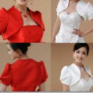 Elegant Bridal Wedding Wrap Off White or Red Short Sleeve Shawl Bolero Jacket