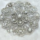 Round Flower Bouquet Crystal Rhinestone Wedding Bridal Bride Gift Brooch Pin