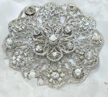 Round Flower Bouquet Crystal Rhinestone Wedding Bridal Bride Gift Brooch Pin