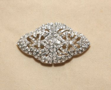 Vintage Crystal Rhinestone Wedding Belt Buckle Matching Clasp Closure