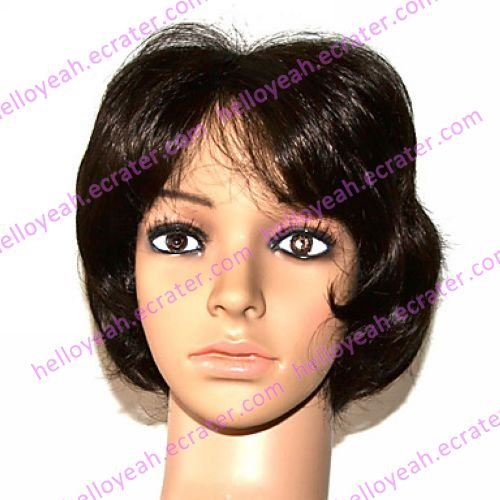 Full Lace 100% Indian Remy Hair Short Black Curly Hair Wigs