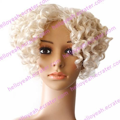 Lace Front 100% Indian Remy Hair White Curly Wig