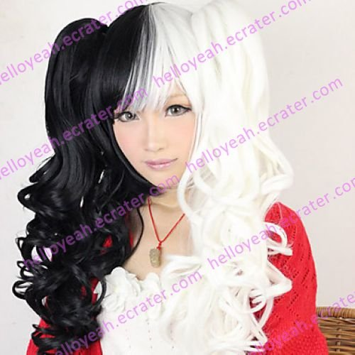Lolita Curly Wig Inspired by Black and White Mixed Color Ponytail 70cm Punk