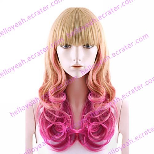 Lolita Curly Wig Inspired by Moly Girl Flaxen and Fuschia Mixed Color 60cm Sweet