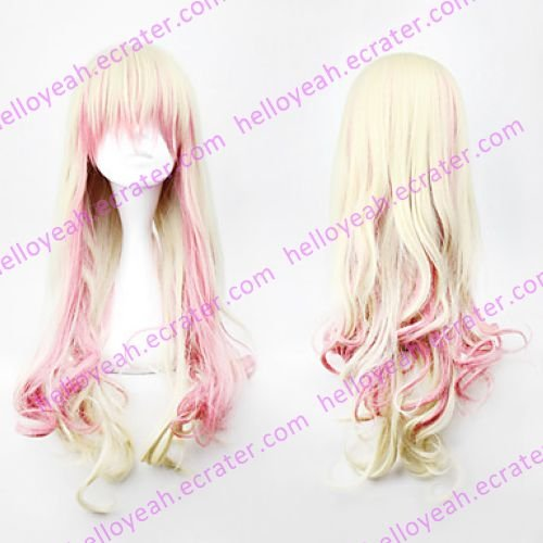 Lolita Curly Wig Inspired by Pink and Flaxen Mixed Color 88cm Cosplay