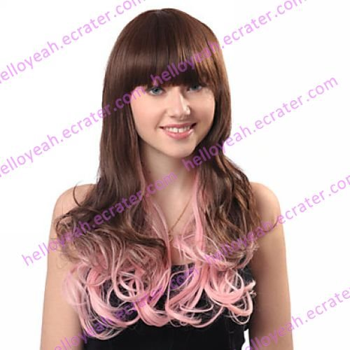Lolita Curly Wig Inspired by Zipper Pink and Brown Mixed Color 65cm Sweet