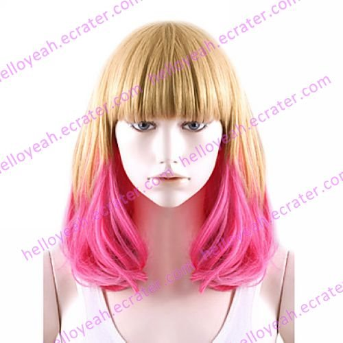 Lolita Natural Curly Wig Inspired by Zipper Flaxen and Fuschia Mixed Color 50cm Sweet