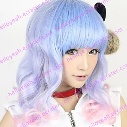 Lolita Wave Wig Inspired by Blue and Pink Mixed Color 55cm Sweet