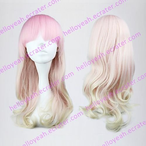 Lolita Wave Wig Inspired by Pink and White Mixed Color 55cm Sweet