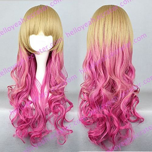 Lolita Wave Wig Inspired by Zipper Golden and Pink Mixed Color 65cm Sweet