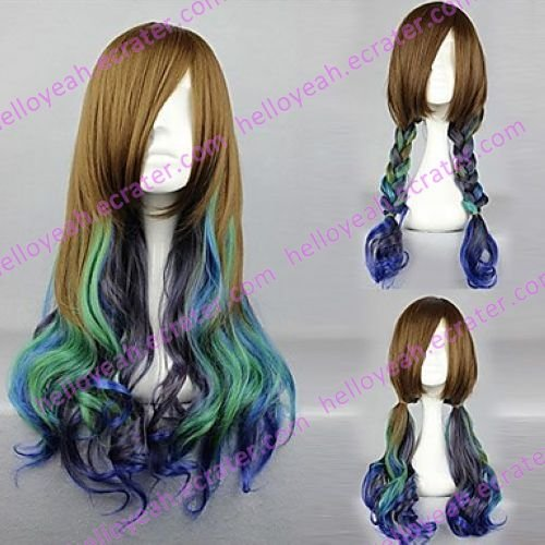 Lolita Wig Inspired by Victoria Style Brown and Cyan and Purple Mixed Color Country