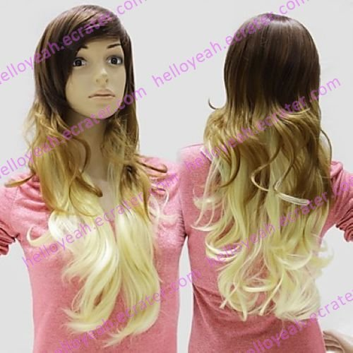 Lolita Wig Inspired by Zipper Brown and Yellow Mixed Color 70cm Classic