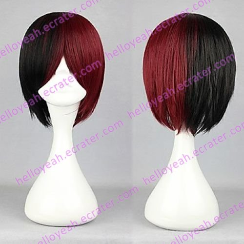 Lolita Wig Inspired by Zipper Short Black and Red Mixed Color 32cm Punk