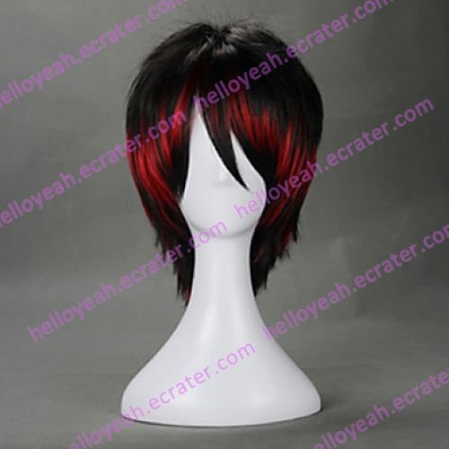 Punk Style Black and Red Mixed Color 35cm Oji Lolita Wig