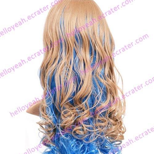 Blue And Light Golden 80cm Gurren Lagann Near Nylon Cosplay Wig