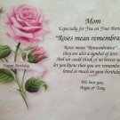 Happy Birthday Gift for Mom, Mother, Grandma or Grandmother Personalized Poem