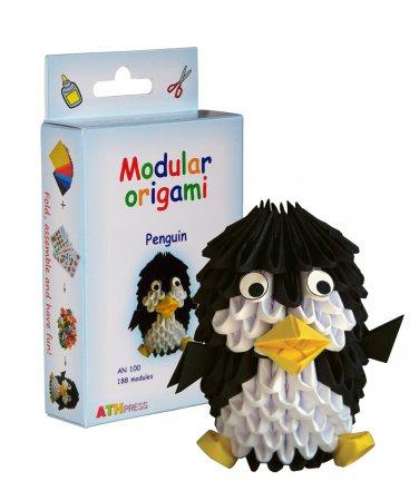 Amazing kit for assembling a modular origami penguin