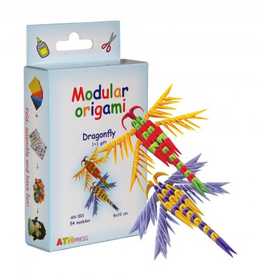 Amazing kit for assembling a modular origami dragonfly