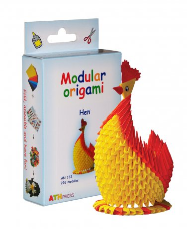 Amazing kit for assembling a modular origami hen