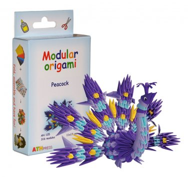 Amazing kit for assembling a modular origami peacock