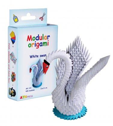 Amazing kit for assembling a modular origami white swan