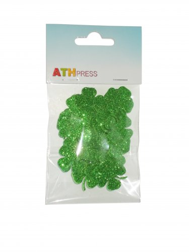 48 pcs EVA foam gliter 27/27mm Shapes Die Cut Clovers / Shamrock for your creative projects
