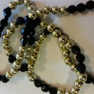 Black and Gold Acrylic Beaded Necklace handmade