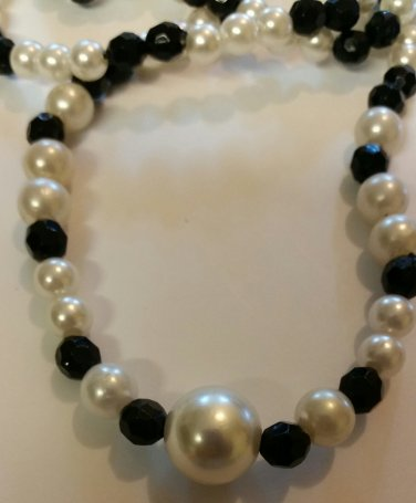 Black and Pearl Acrylic beaded Necklace 19.5 inches handmade