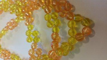Orange and Lemon Acrylic beaded Necklace handmade