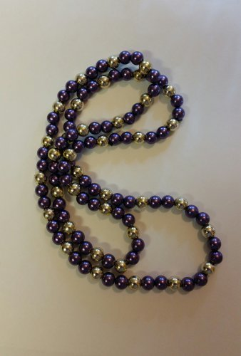 Purple and Gold Beaded Necklace handmade