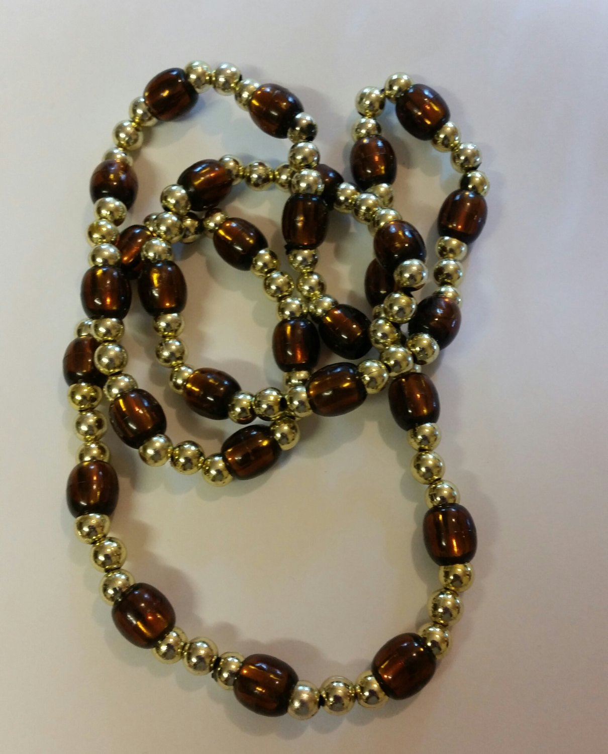 Brown and Gold Beaded Necklace handmade