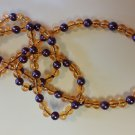 Orange and Purple beaded necklace handmade